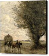The Haycart Canvas Print by Jean Baptiste Camille Corot