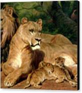 The Lions At Home Canvas Print by Rosa Bonheur