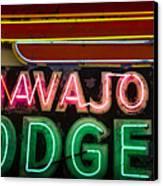The Navajo Lodge Sign In Prescott Arizona Canvas Print by David Patterson