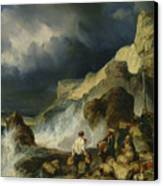 The Onslaught Of The Smugglers Canvas Print by Louis Eugene Gabriel Isabey