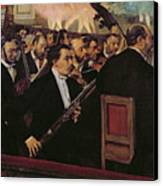 The Opera Orchestra Canvas Print by Edgar Degas