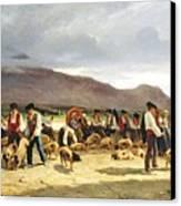 The Pig Market Canvas Print by Pierre Edmond Alexandre Hedouin