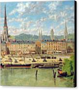 The Port At Rouen Canvas Print by Torello Ancillotti