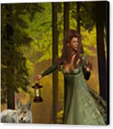The Princess And The Wolf Canvas Print by Emma Alvarez