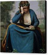 The Reader Crowned With Flowers Canvas Print by Jean Baptiste Camille Corot