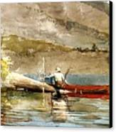 The Red Canoe Canvas Print by Pg Reproductions