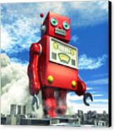 The Red Tin Robot And The City Canvas Print by Luca Oleastri
