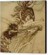 The Rhinemaidens Teasing Alberich Canvas Print by Arthur Rackham