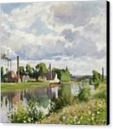 The River Oise Near Pontoise Canvas Print by Camille Pissarro
