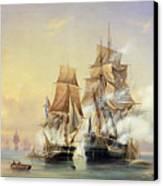 The Russian Cutter Mercury Captures The Swedish Frigate Venus On 21st May 1789 Canvas Print by Aleksei Petrovich Bogolyubov