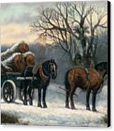 The Timber Wagon In Winter Canvas Print by Anonymous