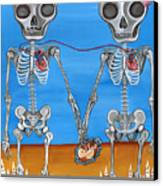 The Two Skeletons Canvas Print by Jaz Higgins