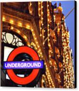 The Underground And Harrods At Night Canvas Print by Heidi Hermes