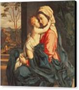 The Virgin And Child Embracing Canvas Print by Giovanni Battista Salvi