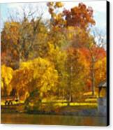 The Vt Duck Pond Canvas Print by Kathy Jennings