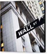 The Wall Street Street Sign Canvas Print by Justin Guariglia