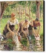 The Washerwomen Canvas Print by Camille Pissarro