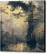 The Windmills In Rotterdam Canvas Print by Johan Barthold Jongkind