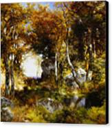 The Woodland Pool Canvas Print by Thomas Moran