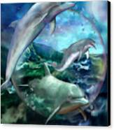 Three Dolphins Canvas Print by Carol Cavalaris