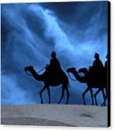 Three Kings Travel By The Star Of Bethlehem - Midnight Canvas Print by Gary Avey