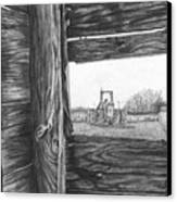 Through The Barn Canvas Print by Dean Herbert