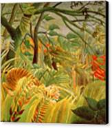 Tiger In A Tropical Storm Canvas Print by Henri Rousseau