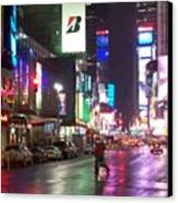 Times Square In The Rain 2 Canvas Print by Anita Burgermeister