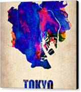 Tokyo Watercolor Map 2 Canvas Print by Naxart Studio