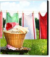 Towels Drying On The Clothesline Canvas Print by Sandra Cunningham