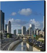 Traffic Flowing In And Out Of Downtown Tel Aviv Canvas Print by Noam Armonn