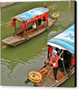 Traffic In Qibao - Shanghai's Local Ancient Water Town Canvas Print by Christine Till