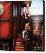 Train - Yard - Receiving A Telegram  Canvas Print by Mike Savad