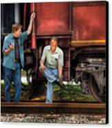 Train - Yard - Shoot'in The Breeze Canvas Print by Mike Savad