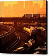 Trains At Sunrise Canvas Print by Don Wolf