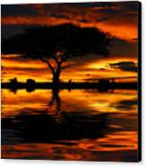 Tree Silhouette And Dramatic Sunset Canvas Print by Anna Omelchenko