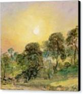Trees On Hampstead Heath At Sunset Canvas Print by John Constable