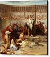 Triumph Of Faith    Christian Martyrs In The Time Of Nero Canvas Print by Eugene Romain Thirion