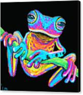 Tropical Rainbow Frog On A Vine Canvas Print by Nick Gustafson