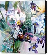 Tropical White Orchids Canvas Print by Mindy Newman