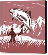 Trout Jumping Fisherman Canvas Print by Aloysius Patrimonio