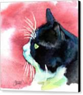 Tuxedo Cat Profile Canvas Print by Christy  Freeman