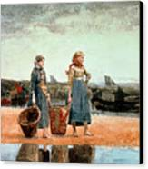 Two Girls On The Beach Canvas Print by Winslow Homer