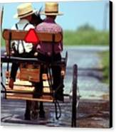 Two Little Amish Boys In A Buggy Canvas Print by Randy Matthews