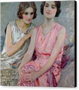 Two Young Women Seated Canvas Print by William Henry Margetson