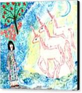 Unicorns Come Home Canvas Print by Sushila Burgess