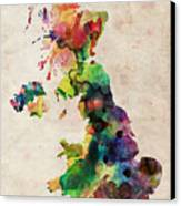 United Kingdom Watercolor Map Canvas Print by Michael Tompsett