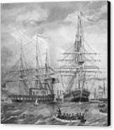 U.s. Naval Fleet During The Civil War Canvas Print by War Is Hell Store