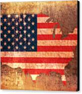 Usa Star And Stripes Map Canvas Print by Michael Tompsett