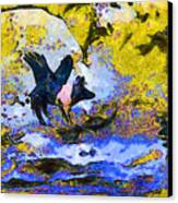 Van Gogh.s Flying Pig 3 Canvas Print by Wingsdomain Art and Photography